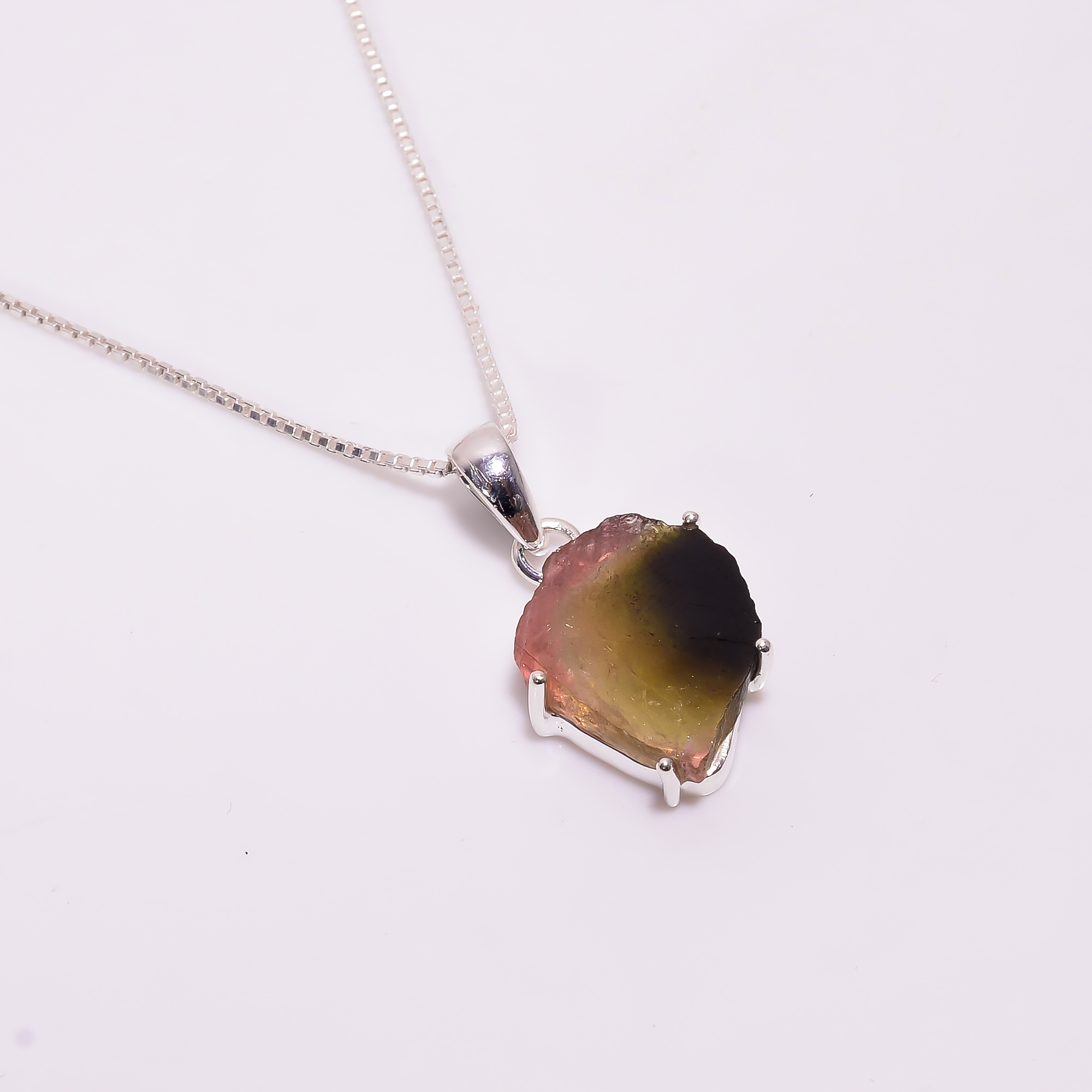 Watermelon Tourmaline Raw Gemstone 925 Sterling Silver Necklace