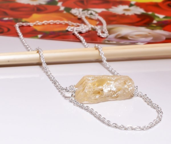Citrine Raw Gemstone 925 Sterling Silver Necklace