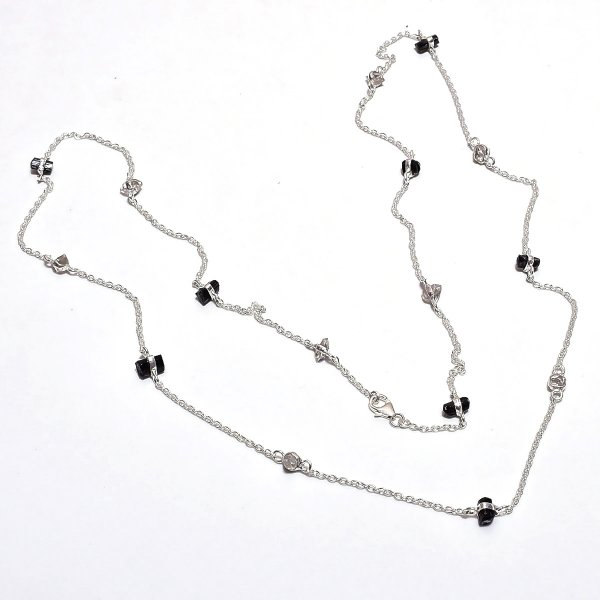 Herkimer Diamond Black Tourmaline Raw Gemstone 925 Sterling Silver Necklace