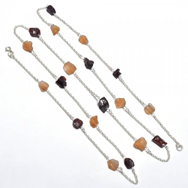 Garnet Citrine Raw Gemstone 925 Sterling Silver Necklace