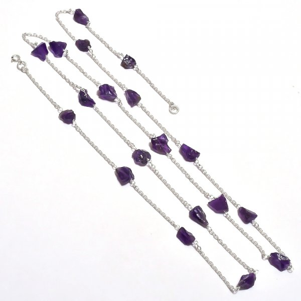 Amethyst Raw Gemstone 925 Sterling Silver Necklace