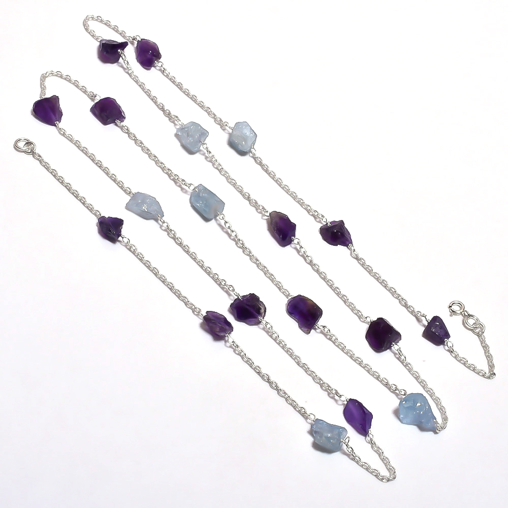 Amethyst Aquamarine Raw Gemstone 925 Sterling Silver Necklace