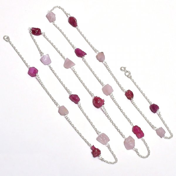 Rose Quartz Corundum Ruby Raw Gemstone 925 Sterling Silver Necklace