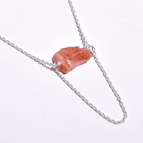 Sunstone Raw Gemstone 925 Sterling Silver Necklace