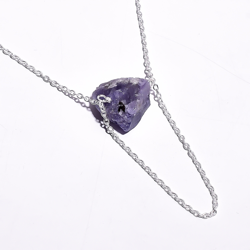 Tanzanite Raw Gemstone 925 Sterling Silver Necklace