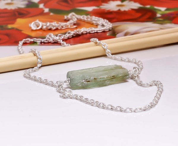 Green Kyanite Raw Gemstone 925 Sterling Silver Necklace