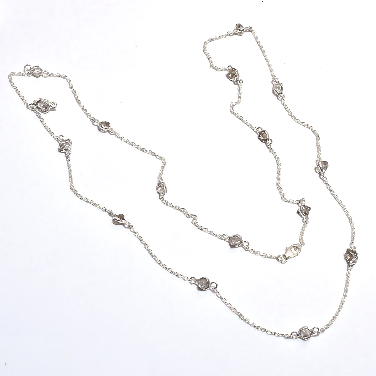 Herkimer Diamond Raw Gemstone 925 Sterling Silver Necklace