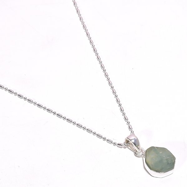 Aquamarine Raw Gemstone 925 Sterling Silver Necklace