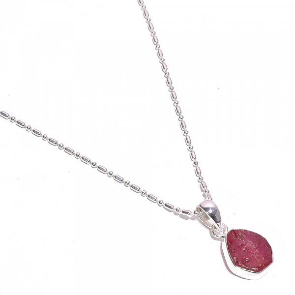Corundum Ruby Raw Gemstone 925 Sterling Silver Necklace