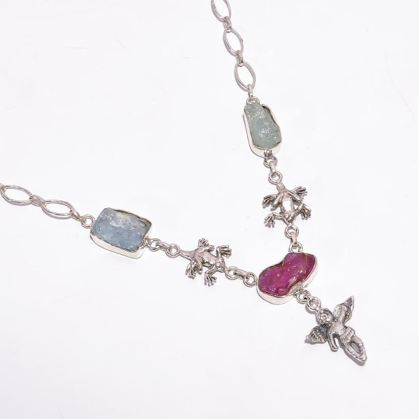 Aquamarine Ruby Raw Gemstone 925 Sterling Silver Necklace