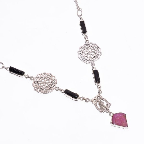 Black Tourmaline Ruby Raw Gemstone 925 Sterling Silver Necklace