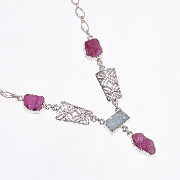 Ruby Aquamarine Raw Gemstone 925 Sterling Silver Necklace