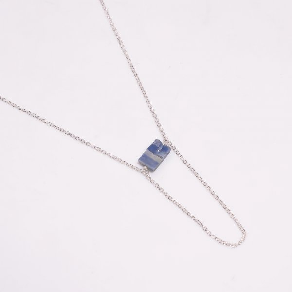 Blue Kyanite Raw Gemstone 925 Sterling Silver Necklace