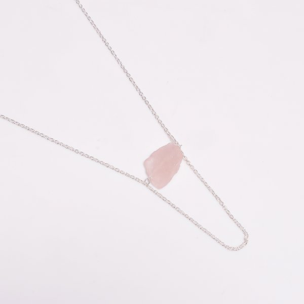 Rose Quartz Raw Gemstone 925 Sterling Silver Necklace