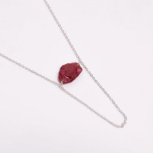 Ruby Raw Gemstone 925 Sterling Silver Necklace
