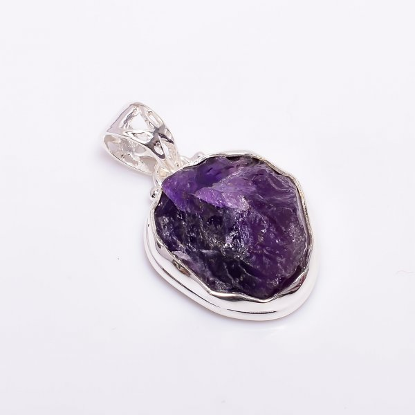 Natural Amethyst Raw Gemstone 925 Sterling Silver Pendant