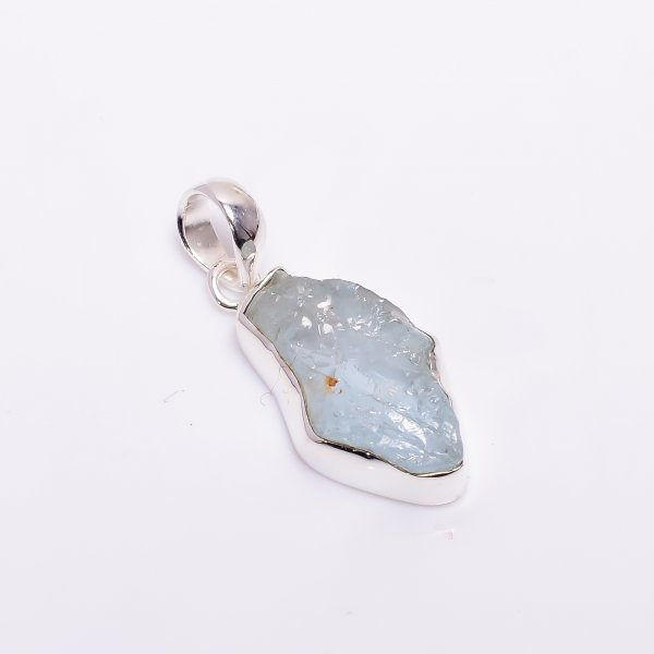 Natural Aquamarine Raw Gemstone 925 Sterling Silver Pendant