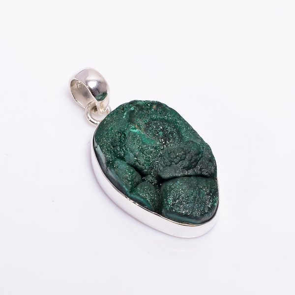 Natural Malachite Raw Gemstone 925 Sterling Silver Pendant