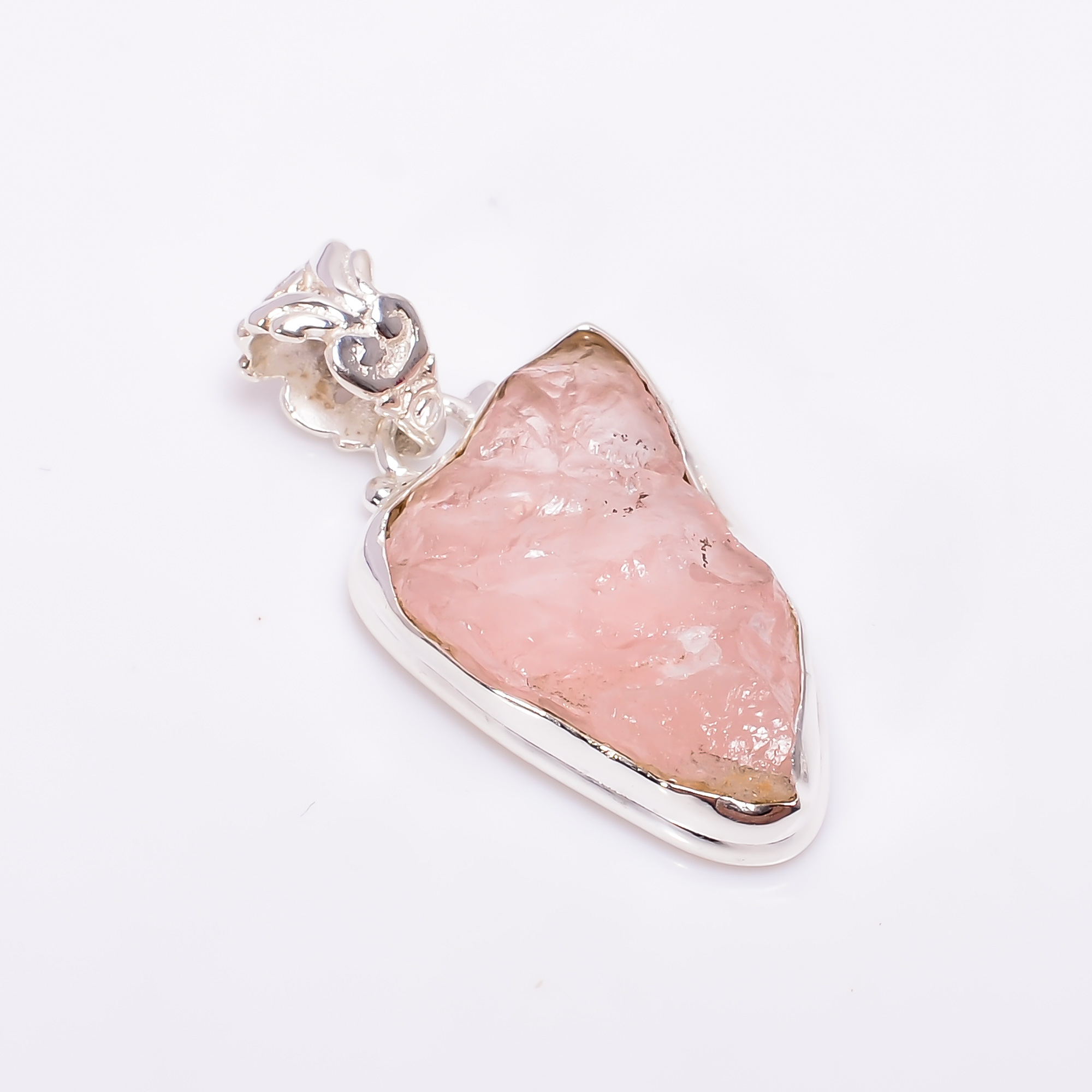 Natural Rose Quartz  Raw Gemstone 925 Sterling Silver Pendant