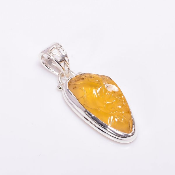 Natural Amber Raw Gemstone 925 Sterling Silver Pendant