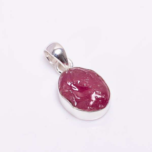 Natural Ruby Raw Gemstone 925 Sterling Silver Pendant