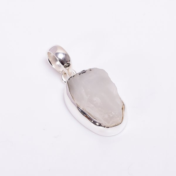 Natural Raw Rainbow Moonstone 925 Sterling Silver Pendant