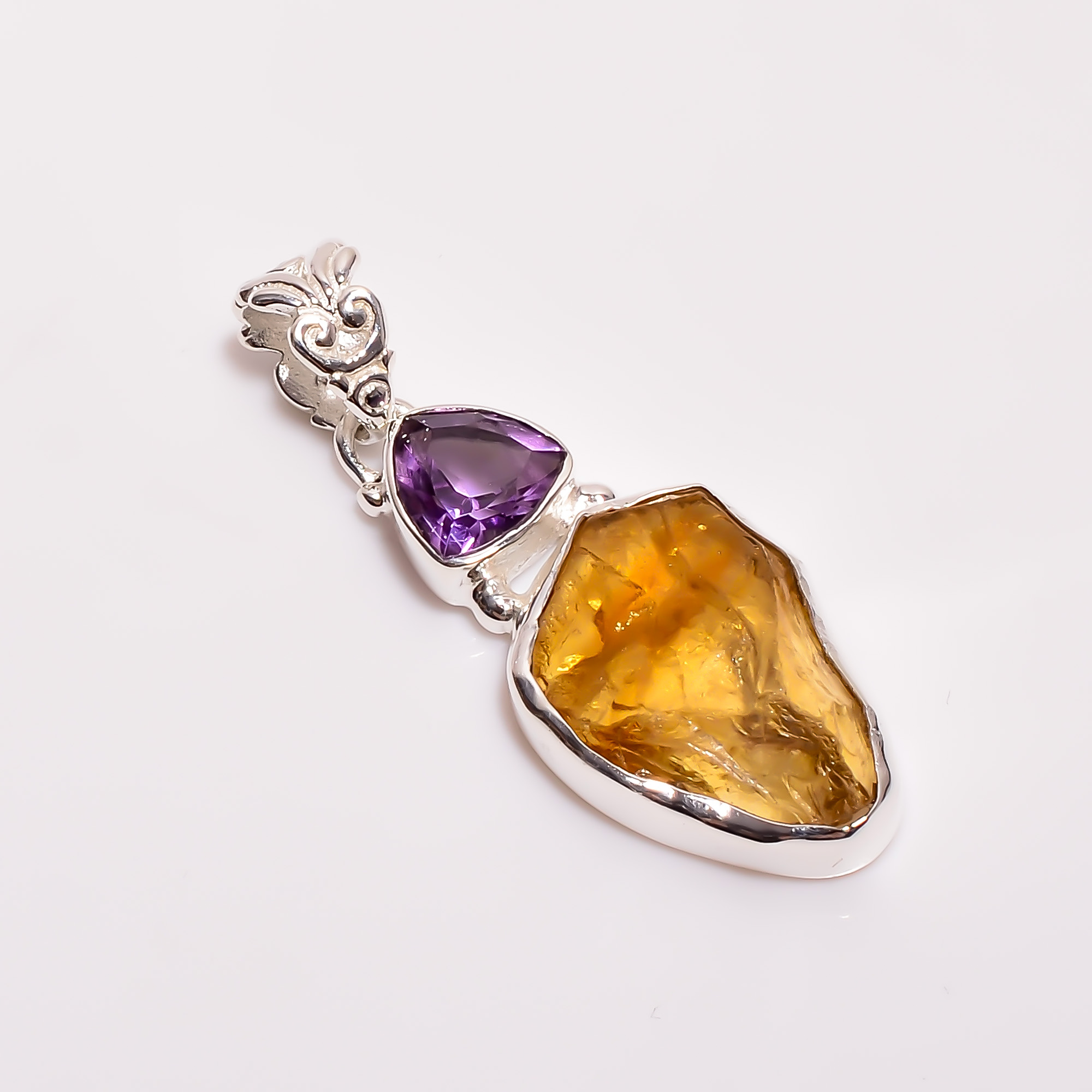 Natural Amethyst Amber Raw Gemstone 925 Sterling Silver Pendant