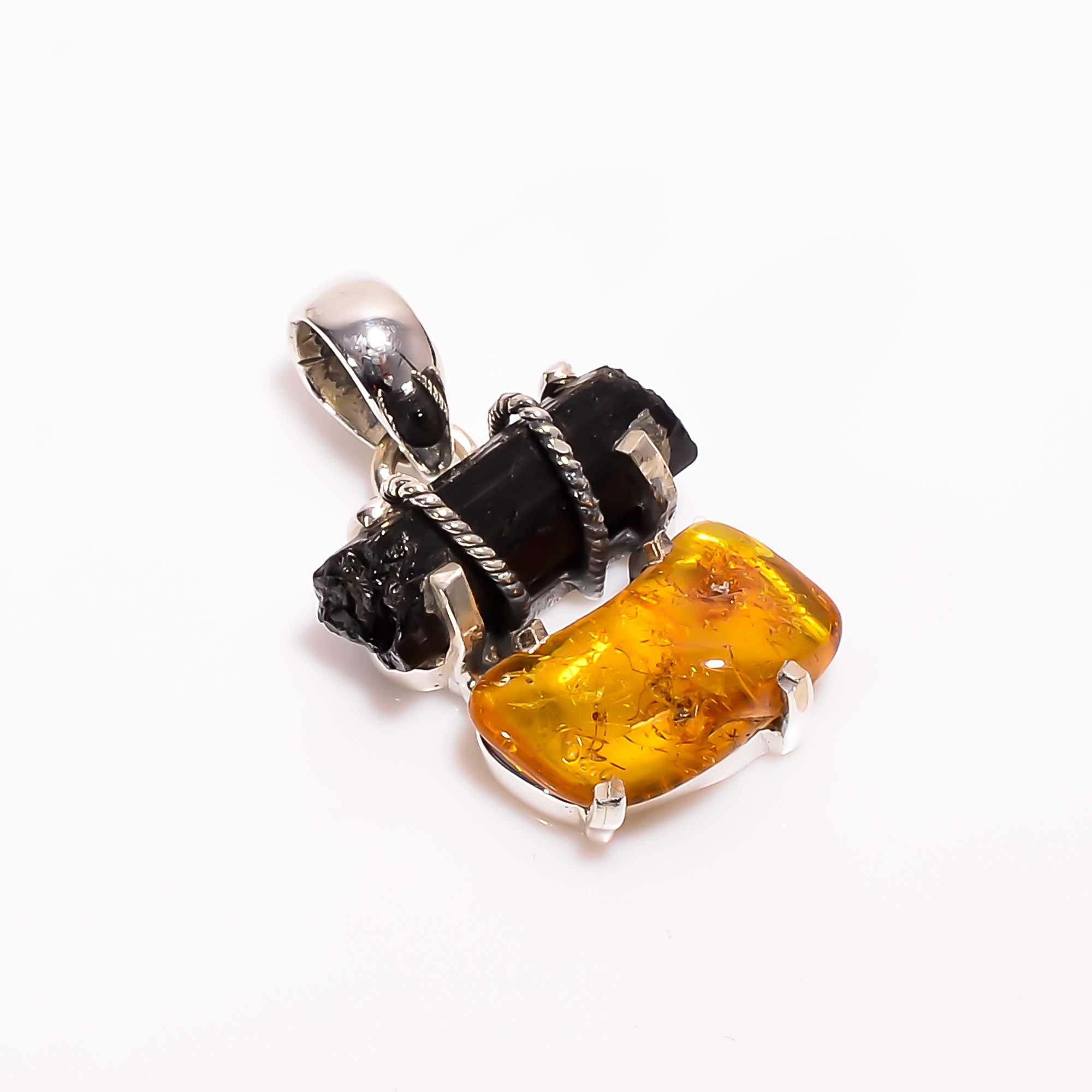 Natural Black Tourmaline Amber Raw Gemstone 925 Sterling Silver Pendant