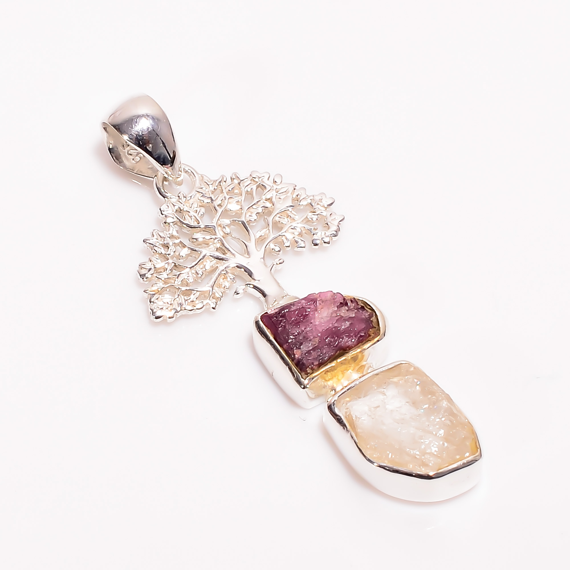 Natural Raw Pink Tourmaline Herkimer Diamond 925 Sterling Silver Pendant