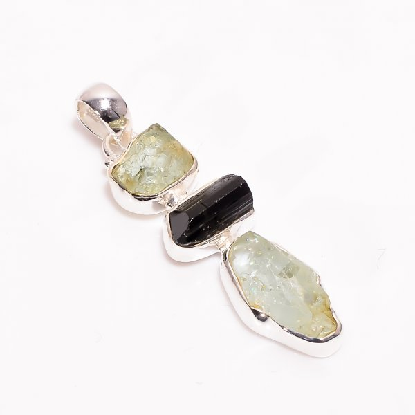 Natural Aquamarine Black Tourmaline Raw Gemstone 925 Sterling Silver Pendant
