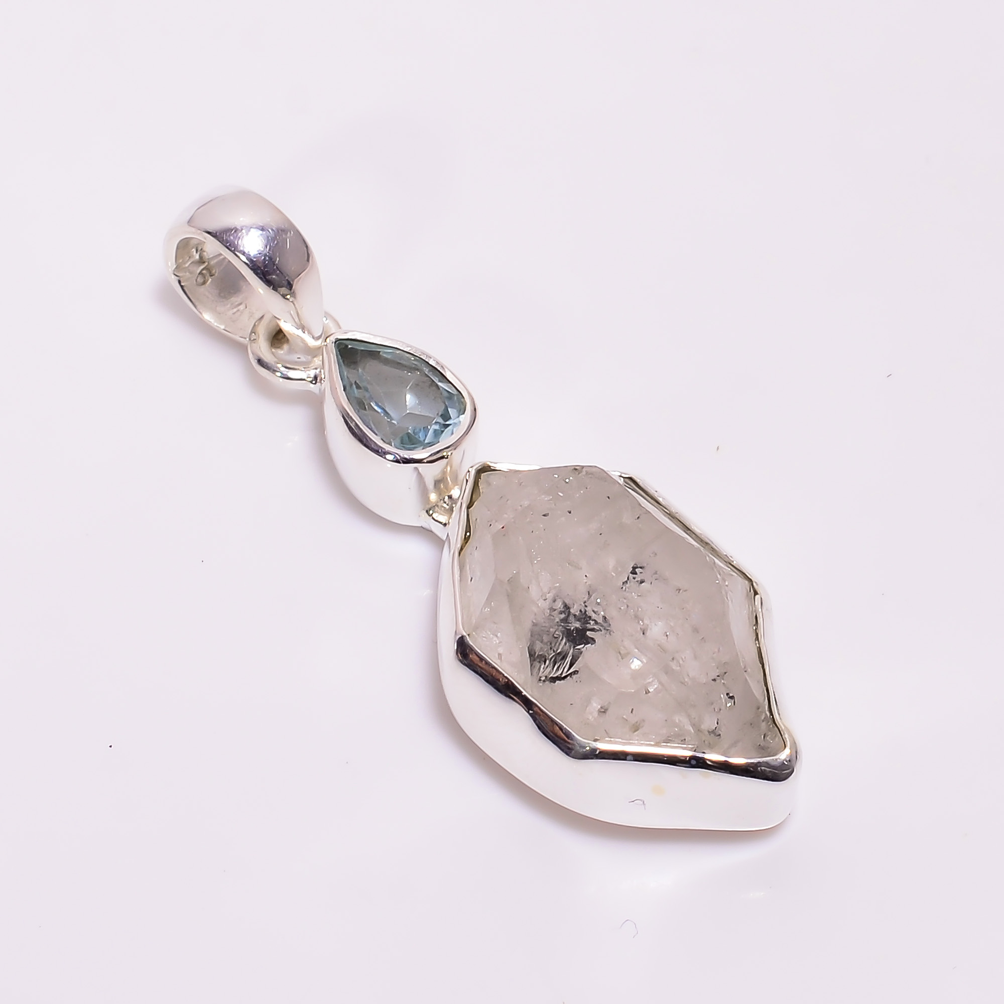 Natural Herkimer Diamond Aquamarine 925 Sterling Silver Pendant