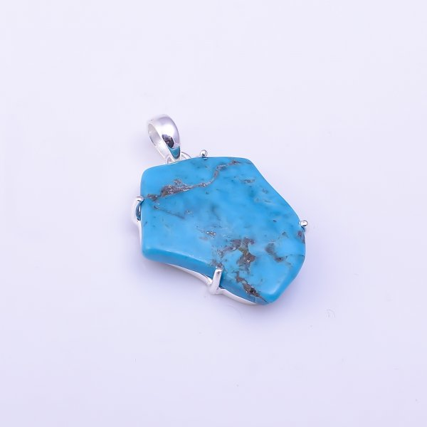 Turquoise Raw Gemstone 925 Sterling Silver Pendant