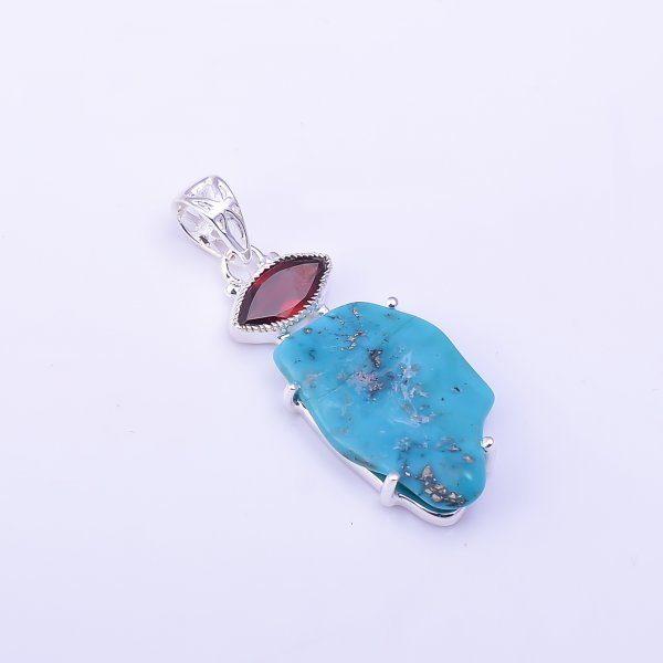 Garnet Turquoise Raw Gemstone 925 Sterling Silver Pendant