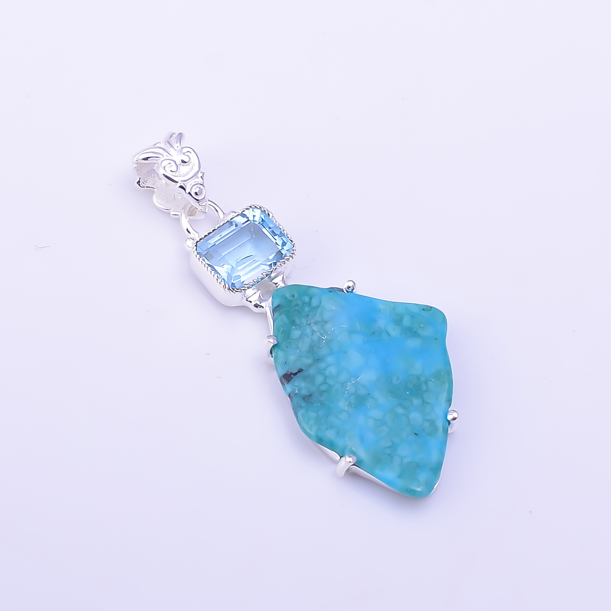 Blue Topaz Turquoise Raw Gemstone 925 Sterling Silver Pendant
