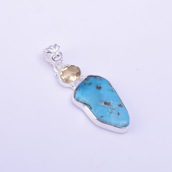 Citrine Turquoise Raw Gemstone 925 Sterling Silver Pendant