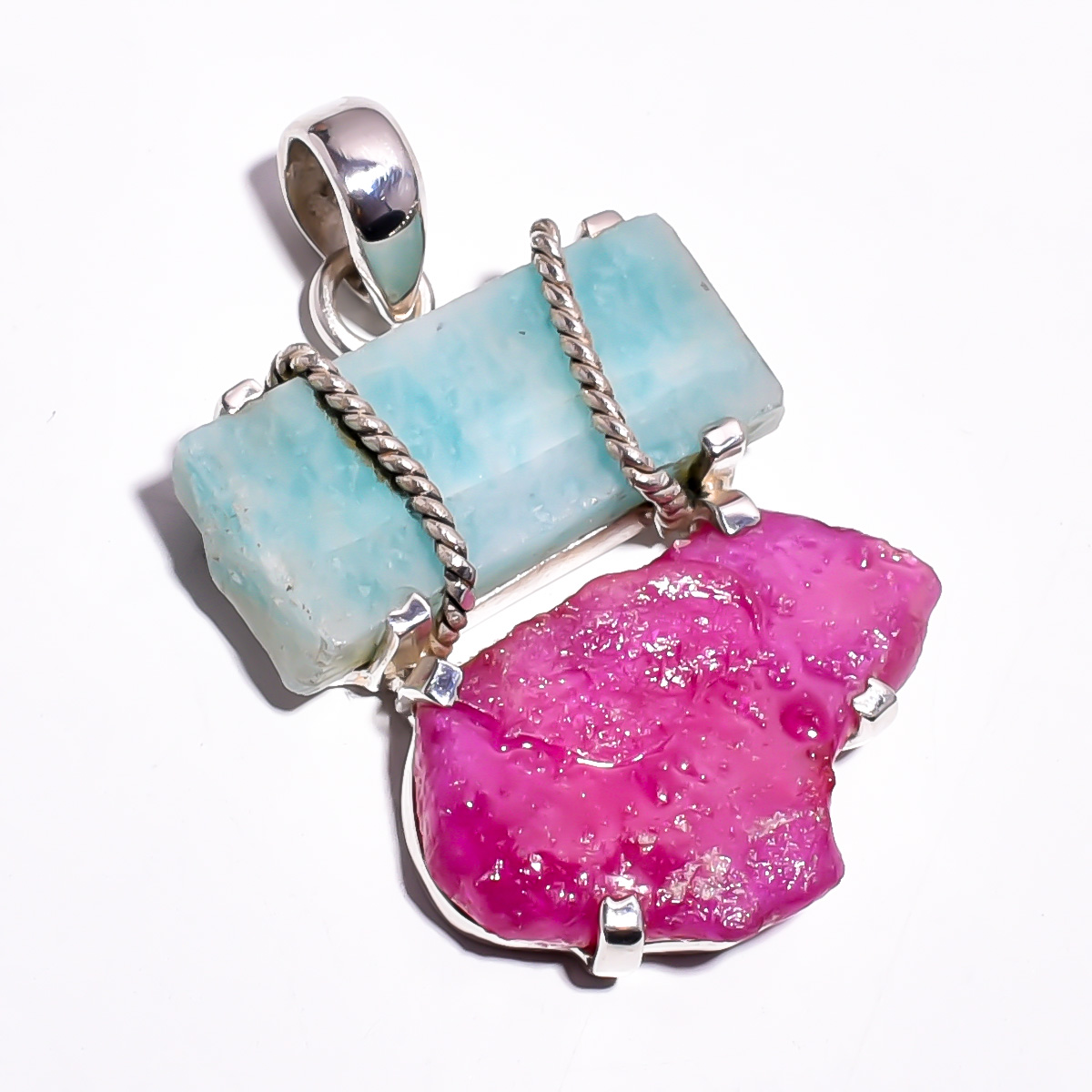 Amazonite Corundum Ruby Raw Gemstone 925 Sterling Silver Pendant