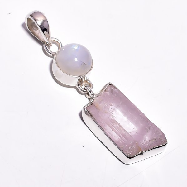 Kunzite Raw Gemstone 925 Sterling Silver Pendant