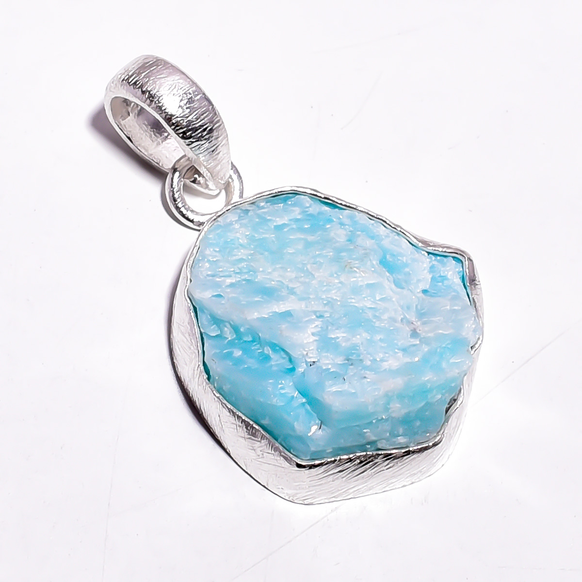 Amazonite Raw Gemstone 925 Sterling Silver Pendant