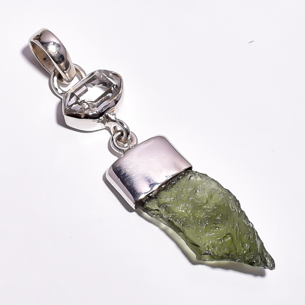 Moldavite Herkimer Diamond Raw Gemstone 925 Sterling Silver Pendant