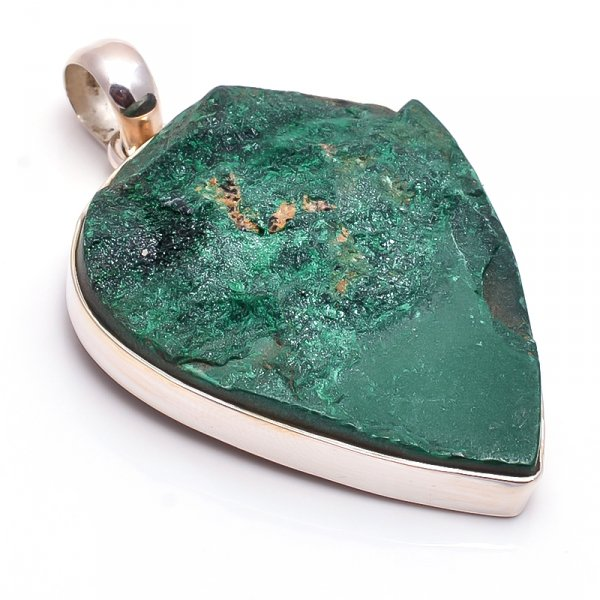 Malachite Raw Gemstone 925 Sterling Silver Pendant