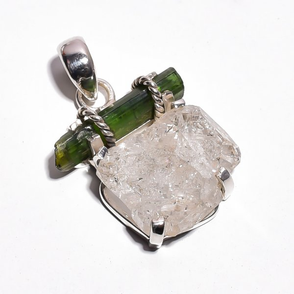 Herkimer Diamond Green Tourmaline Raw Gemstone 925 Sterling Silver Pendant