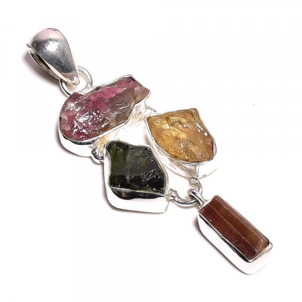 Tourmaline Citrine Raw Gemstone 925 Sterling Silver Pendant