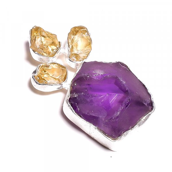 Amethyst Citrine Raw Gemstone 925 Sterling Silver Pendant