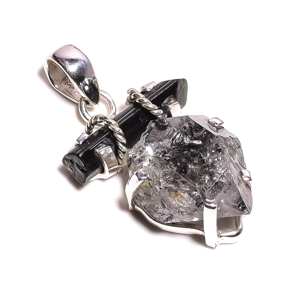 Black Shade Herkimer Diamond Green Tourmaline Raw Gemstone 925 Sterling Silver Pendant