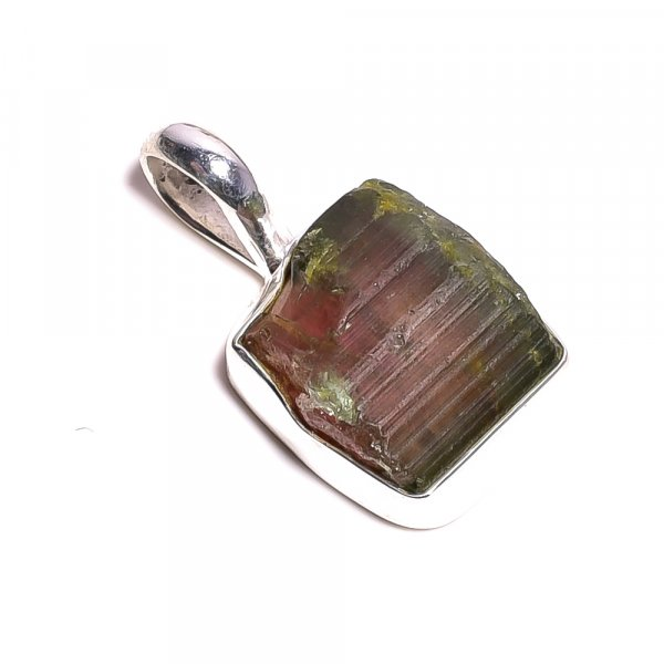 Tourmaline Raw Gemstone 925 Sterling Silver Pendant