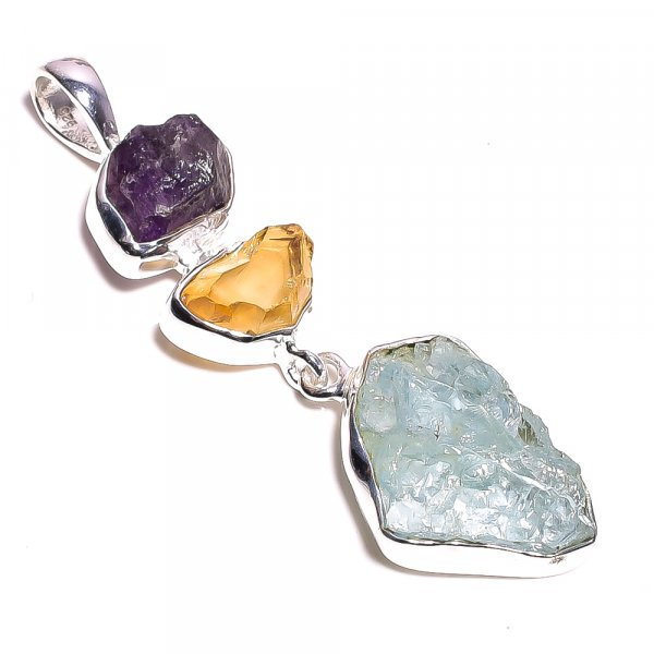 Aquamarine Citrine Raw Gemstone 925 Sterling Silver Pendant