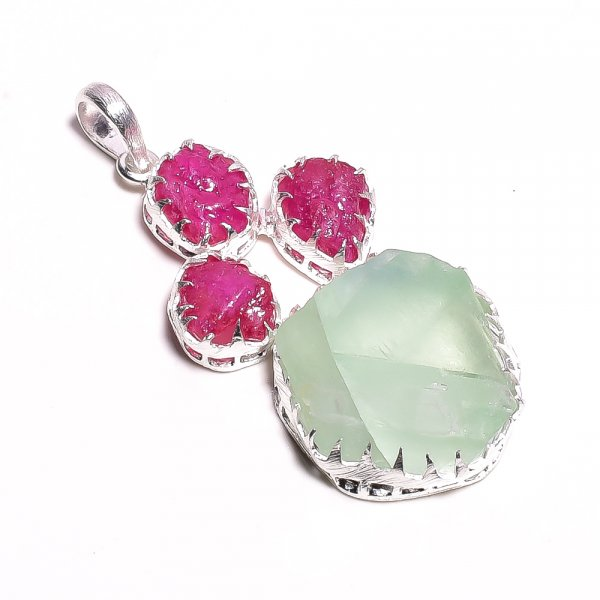 Green Fluorite Corundum Ruby Raw Gemstone 925 Sterling Silver Pendant
