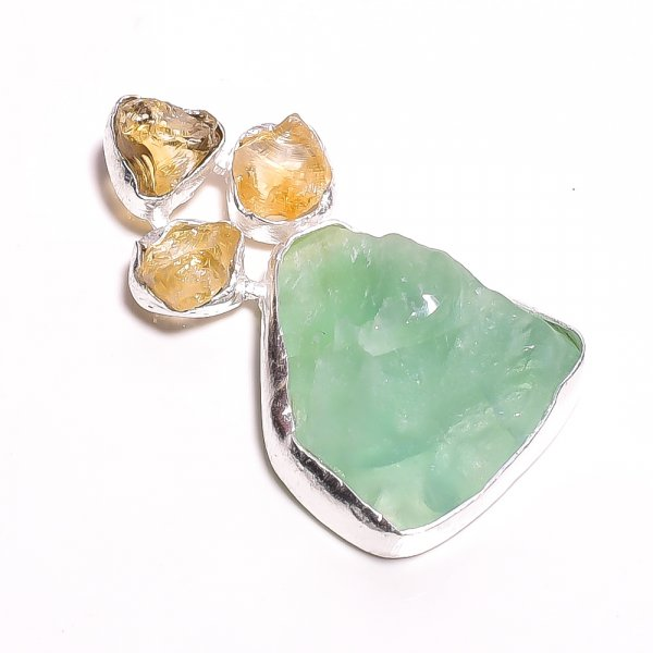 Green Fluorite Citrine Raw Gemstone 925 Sterling Silver Pendant