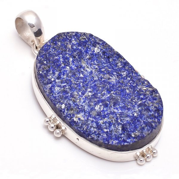 Lapis Raw Gemstone 925 Sterling Silver Pendant