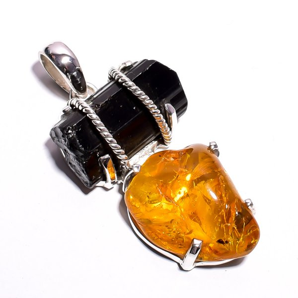 Amber, Black Tourmaline Raw Gemstone 925 Sterling Silver Pendant